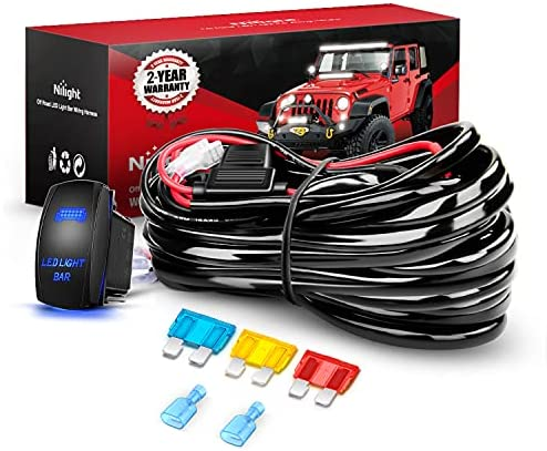 Read more about the article Nilight 10014W LED Light Bar Wiring Harness Kit 14AWG Heavy Duty 12V 5Pin Rocker Laser On Off Waterproof Switch Power Relay Blade Fuse-1 Lead,2 Years Warranty