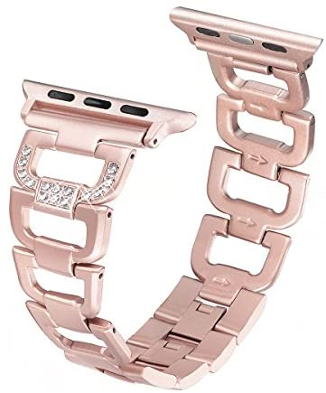 Read more about the article Secbolt Bling Bands Compatible Apple Watch Band 38mm 40mm iWatch Series 6 5 4 3 2 1 SE Women Dressy Jewelry D-link Stainless Steel Wristband Strap, Rose Gold