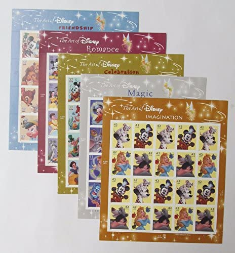 Read more about the article The Art of Disney Set of 5 Sheets, Celebration, Friendship, Imagination, Magic, Romance Collectible Postage Stamps