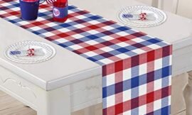 Tifeson 4th of July Buffalo Plaid Table Runner – 13 x 72 Inch Patriotic Red & Blue & White Plaid Check Table Runner for Veterans Day Party, Fourth of July/Independence Day Party Table Decorations