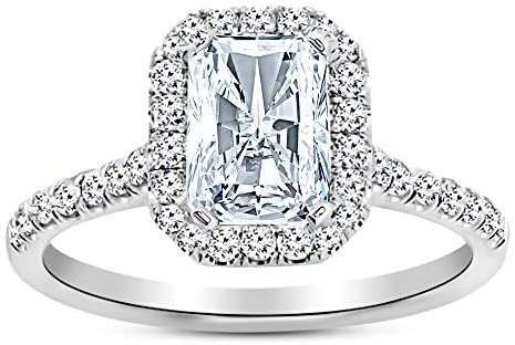 Read more about the article 3.5 Ctw 14K White Gold Halo Radiant Cut GIA Certified Diamond Engagement Ring (3 Ct H Color SI2 Clarity Center Stone)