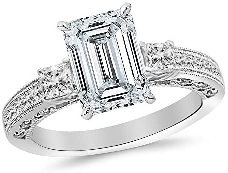 Read more about the article 3.5 Ctw 14K White Gold Three 3 Stone Princess Cut Channel Set Emerald Cut GIA Certified Diamond Engagement Ring (3 Ct J Color VS2 Clarity Center Stone)