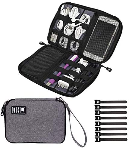 Read more about the article Travel Cable Organizer Bag Waterproof Portable Electronics Organizer Accessories Case with 8 Cable Ties for USB Cable Cord Phone Charger Headset Wire SD Card (10.23 inch, Black)