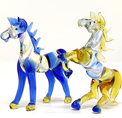 Read more about the article Sansukjai 2 Horse Miniature Figurines Animals Hand Blown Color Glass Art Collectible Gift Decorate, Blue Amber