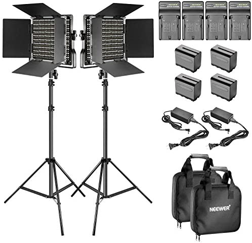 Read more about the article Neewer 2-Pack Dimmable Bi-Color 660 LED Video Light with Barndoor and 6.5 Feet Light Stand, 4-Pack Rechargeable 6600mAh Li-Ion Battery and Charger Lighting Kit for Photo Studio YouTube Video Shooting