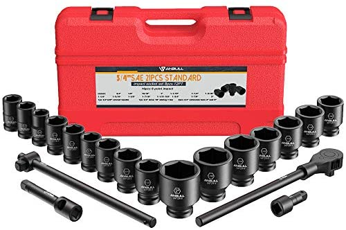 Read more about the article Anbull 3/4″ Drive Jumbo Impact Socket Set, 21 Piece Shallow Socket Assortment, 6-Point Standard SAE Sizes (3/4-Inch to 2-Inch) | Cr-Mo Steel