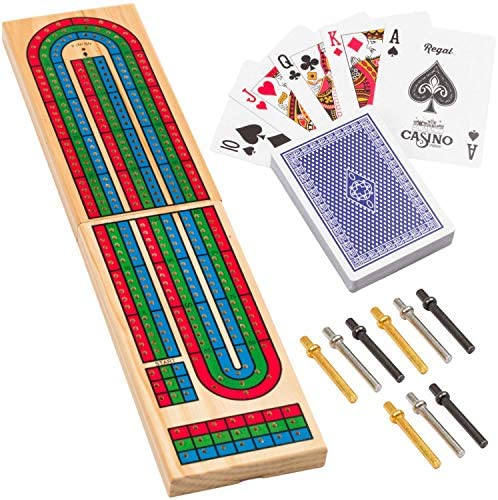 Read more about the article Regal Games Wooden Cribbage Board Game with Metal Pegs and a Standard Deck of Playing Cards