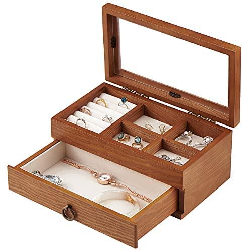 Read more about the article Jewelry Box Storage Organizer with Drawer for Ring, Bracelet, Watch, Necklace, Earrings, and Accessories (2 tier)