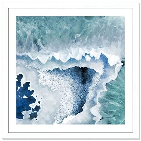 Read more about the article Casa Fine Arts Agate Blue and Turquoise I Modern Geode Crystal Archival Art Print, 31″ x 31″, Matte White Frame