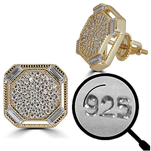 Read more about the article Solid 925 Sterling Silver – 14k Gold Plated – Men's Baguette Micropave Earrings – Iced Large 1/2″ Screw Back Earrings