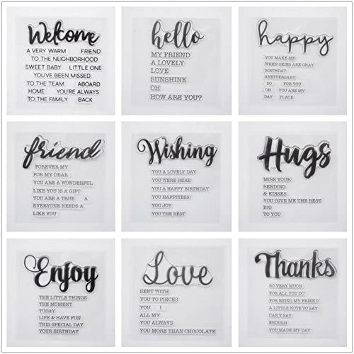 Read more about the article Welcome to Joyful Home 9pcs/Set Welcome Hello Hugs Frineds Sentiments Rubber Clear Stamp for Card Making Decoration and Scrapbooking