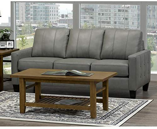 Read more about the article Overstock Roy Mid Century Modern Grey Top Grain Italian Leather Tufted Sofa