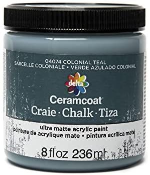 Read more about the article Delta Creative Ceramcoat Ultra Matte Chalk Furniture & Craft Paint in Assorted Colors (8 Ounce), Colonial Teal