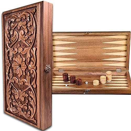Read more about the article Backgammon Set Rustic Carved Handmade Walnut Wooden – 20.5 inch Board / Great Gift idea for Christmas – Made in Europe