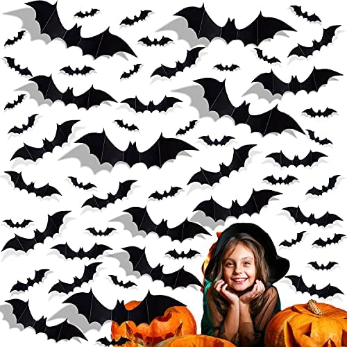 Read more about the article Halloween PVC 3D Bats, Halloween Party Supplies, Halloween Realistic Scary Bats Wall Sticker for Indoor Outdoor Decorations, Comes with Double Sided Tape, 56PCS