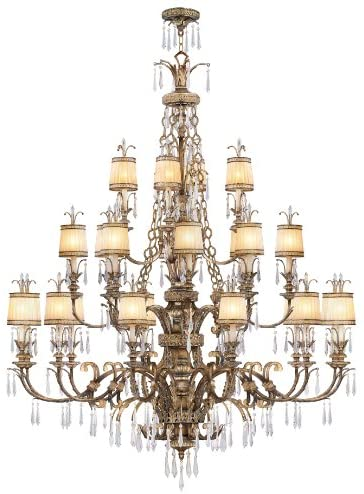 Read more about the article Livex Lighting 8910-65 Chandelier with Hand Crafted Gold Dusted Glass Shades, Vintage Gold Leaf