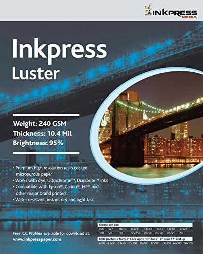 Read more about the article INKPRESS MEDIA Luster 240 GSM, 10.4 Mil, 94 Percent Bright Paper (#PCL111720)