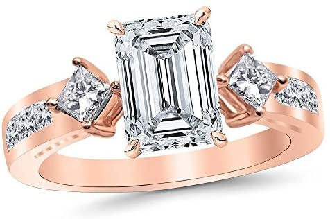 Read more about the article 3.75 Ctw 14K White Gold Channel Set 3 Three Stone Princess Emerald Cut GIA Certified Diamond Engagement Ring (3 Ct J Color VS2 Clarity Center Stone)