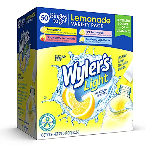Read more about the article Wyler's Light Lemonade Variety Pack, Lemonade, Pink Lemonade, Strawberry Lemonade and Blueberry Lemonade Flavors, Sugar Free, On-The-Go, Caffeine Free, Powdered Drink Mix, 50 Packets