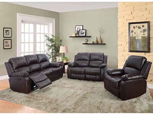 Read more about the article Beverly Furniture 3 Piece Bonded Leather Sofa & Loveseat & Chair with 5 Recliners (Set of 1), Brown