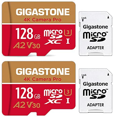 Read more about the article [5-Yrs Free Data Recovery] Gigastone 128GB 2-Pack Micro SD Card, 4K Video Recording for GoPro, Action Camera, DJI, Drone, Nintendo-Switch, R/W up to 100/50 MB/s MicroSDXC Memory Card UHS-I U3 A2 V30
