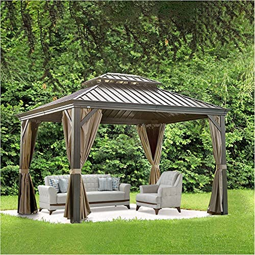 Read more about the article 10×12 ft Outdoor Gazebo Hardtop Patio Gazebos Double Roof Permanent Canopy Privacy Curtains Aluminum Frame Patio Garden Gazebo with Netting (10'x12′)