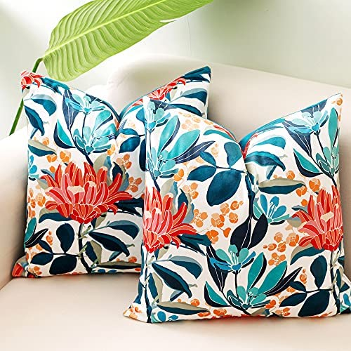 Read more about the article VROOMIUM Throw Pillow Covers-Teal Velvet Pillow Covers Blue 18×18 inch for Couch, Decorative Flowers Pattern Cushion Case for Sofa, Accent Pillow Cover