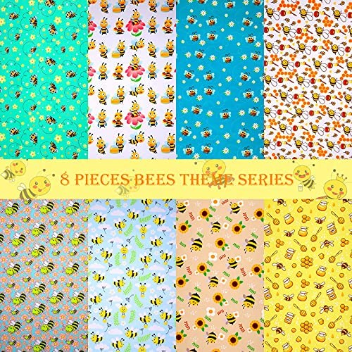 Read more about the article 8 Pieces Bee Fabric Honey Bee Pattern Fabric Fat Quarters Bee Theme Quilting Fabric Bees Flower Printed Craft Fabric Bundles for DIY Sewing Quilting Crafts (20 x 20 Inch)