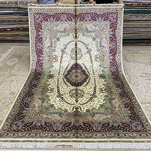 Read more about the article Yuchen Carpet 6'x9′ Pink Handmade Oriental Silk Rugs for Living Room Hand Knotted Persian Silk Carpets