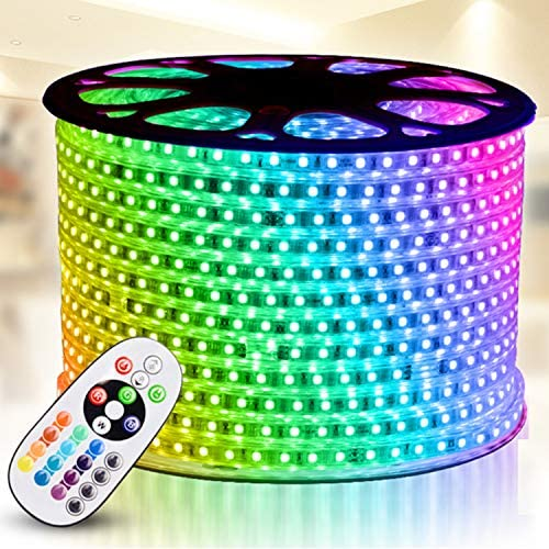 Read more about the article RGB LED Strip Light, IEKOV AC 110-120V Flexible/Waterproof/Multi Colors/Multi-Modes Function/Dimmable SMD5050 LED Rope Light with Remote for Home/Office/Building Decoration (164ft/50m)
