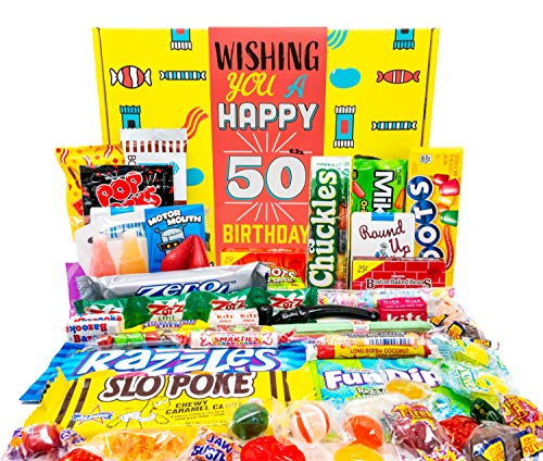 Read more about the article Woodstock Candy – 50th Birthday Gift Basket Box – Milestone Birthday Gift Ideas for Women and Men Turning 50 – Retro Childhood Candy 50th Birthday Gag Gifts for Dad Mom – Party Table Centerpiece