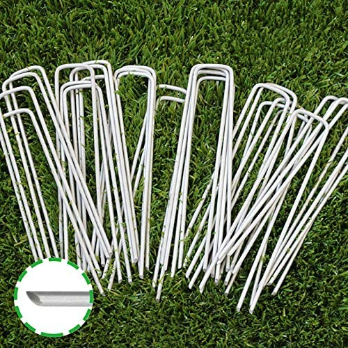 Read more about the article 6 Inch Garden Stakes Galvanized Landscape Staples, U-Type Turf Staples for Artificial Grass, Rust Proof Sod Pins Stakes for Securing Fences Weed Barrier, Outdoor Wires Cords Tents Tarps, 100 Pcs