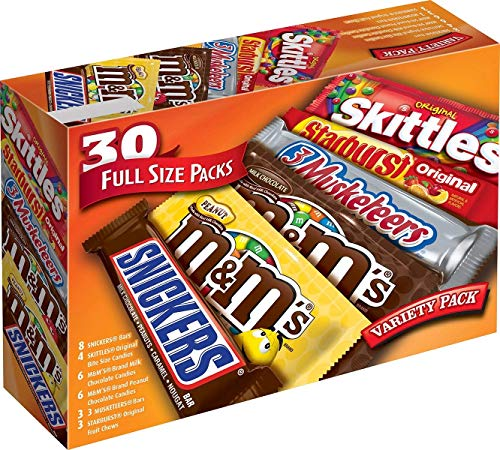 Read more about the article Mars M&M'S, Snickers, 3 Musketeers, Skittles & Starburst Full Size Chocolate Candy Variety Mix 56.11-Ounce 30-Count Box, Assorted – PACK OF 3