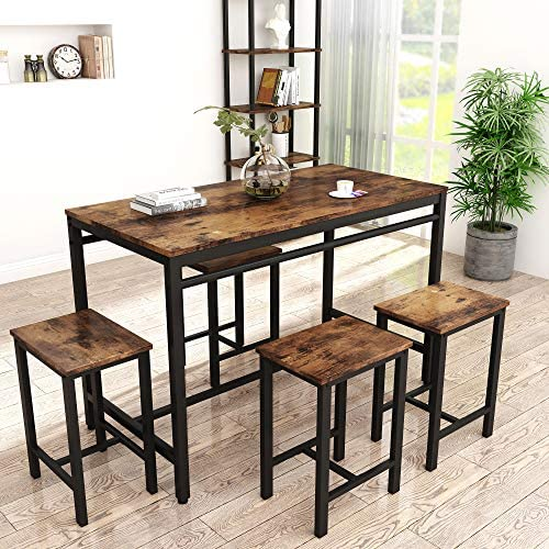 Read more about the article HCWORLD, 5 Pieces Dining Set, Kitchen Table and Chairs with 4 Bar Stools, Perfect for Breakfast Nook, Living Room(Rustic Brown)