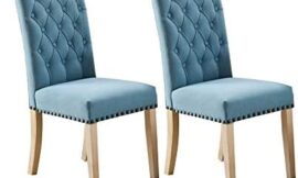 Upholstered Fabric Dining Chairs,Tufted High Back Chair with Copper Nails Around Seat and Solid Wood Legs Set of 2 (Blue+A)