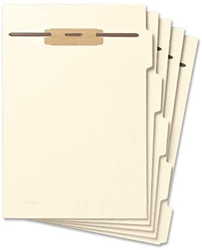 Read more about the article Smead Folder Divider with Fastener, Side 1/5-Cut Tab, Letter Size, Manila, 50 per Pack (35605)