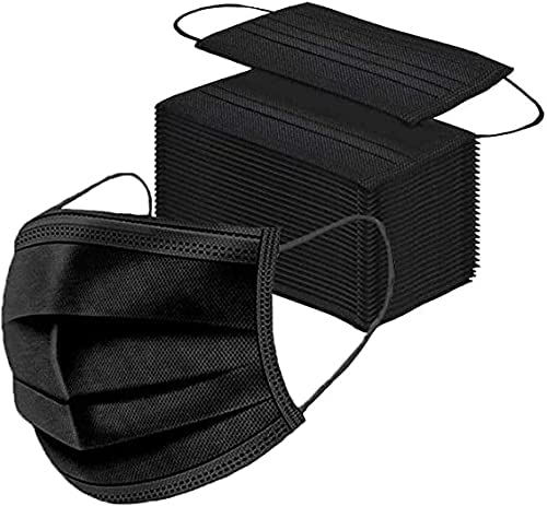 Read more about the article 50 Pack Black Disposable Face Masks 3-Ply Filter Earloop Face Mask Adult Breathable Masks Mouth Cover For Outdoor
