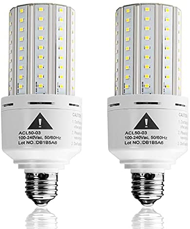 Read more about the article 2-Pack Led Light Bulb 400W Equivalent 6250 Lumen 5000k Cool Daylight White E26/E27 Medium Base 50W Led Corn Light for Outdoor Indoor Lamp Area Garage Warehouse Workshop Street Backyard New Upgrade