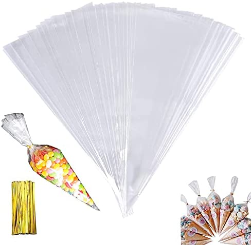 Read more about the article 100Pcs Cone Bags, (5.1″ X 9.8″) Clear Cello Treat Bags with Gold Twist Ties, Triangle Transparent Cellophane Sweet Bag for Halloween Christmas Party Snacks Chocolates Candy Popcorn Cookies Craft Gifts