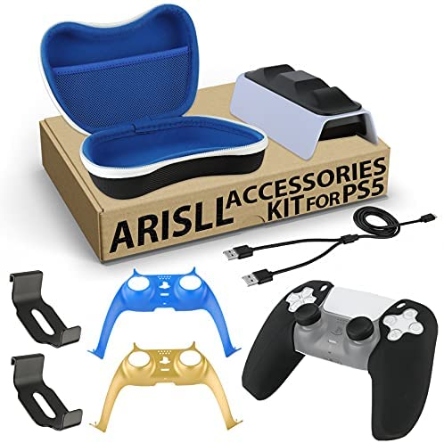 Read more about the article Arisll Accessories Kit for PS5 – Dual Controller Charger,Carrying Case,2 Pack Controller Headphone Mounts,Decorative Strip,Thumb Grip and Silicone Cover Grip for PS5 Playstation 5 Consol