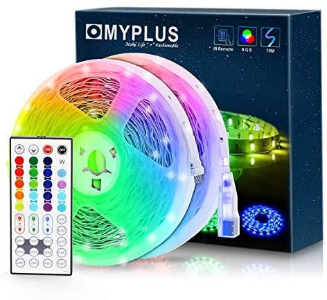 Read more about the article LED Strip Lights with Remote, MYPLUS 32.8ft RGB Strip Light with 44-Key Remote Controller,20 Color,6 Dynic Model, Dimmable and DIY Color, Festival Led Lights Decoration Kit for Bedroom,Room,Kitchen