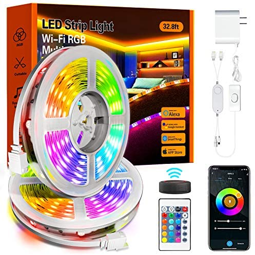 Read more about the article Led Strip Lights,32.8ft Led Lights 5050 RGB Color Changing Music Sync WiFi Smart Lights Strip Work with Alexa & Google Assistant,IR Remote & APP Control Rope Lights for Home Decoration,Bedroom,Party