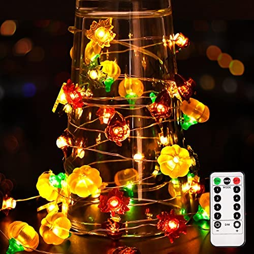 Read more about the article 13 FT 40 LEDs Fall String Lights Decor,Fall Decorations for Home,Battery Powered Fairy LightsW/Remote,3D Pumpkins Maples Acorns Decorative Lights Supplies for Indoor Outdoor Thanksgiving Halloween