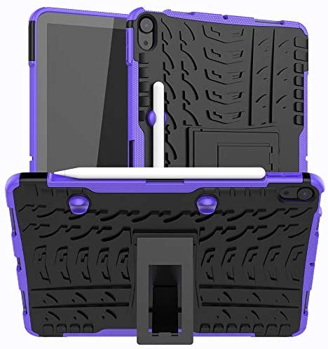 Read more about the article Ankoe Case for iPad Air 4 10.9 Inch 2020 with Pencil Holder, Heavy Duty Hybrid Slim Dual Layer Rugged Rubber Armor Defender Shockproof Protective Case with Kickstand for iPad Air 4th 2020 (Purple)