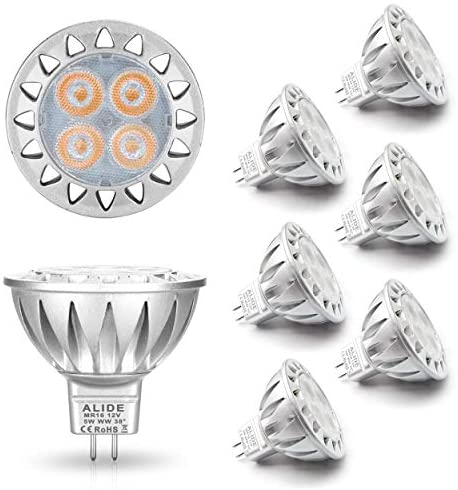 Read more about the article ALIDE MR16 Led Bulbs 5W Replace 20W 35W Halogen Equivalent,2700K Soft Warm White,12V Low Voltage MR16 GU5.3 Bulb Spotlights for Outdoor Landscape Flood Track Lighting,Not Dimmable,450lm,38 Deg,6 Pack