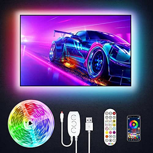 Read more about the article JESLED TV LED Backlight, 9.8ft USB Smart Led Strip Lights Kit for 24-60 Inch TV, Sync with Music,16 Million Colors with Controller and APP Control