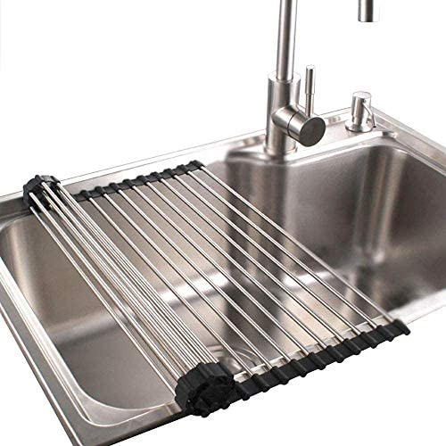 """Read more about the article Roll up Dish Drying Rack RV Folding Over Sink 304 Stainless Steel in Kitchen Dish Drainer Heat Resistant Mat Multipurpose Portable Dish Trainer (17×11.8"""")"""