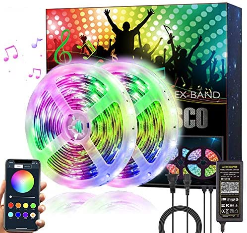 Read more about the article Huamai Music LED Strip Lights 32.8ft Color Changing 2835 Flexible LED Rope Lights with Bluetooth APP Control, for Bedroom Room TV Bar Kitchen Party Home Decoration Room,2roll