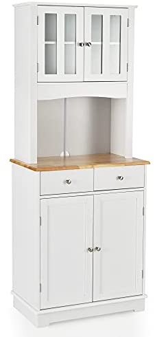 Read more about the article LOKO Kitchen Hutch Cabinet, Kitchen Cabinet with Framed Tempered Glass Doors, Flat Countertop and 2 Drawers, Kitchen Pantry Storage Cabinet with Adjustable Shelves, 27 x 16 x 67 inches (White)