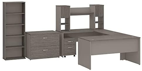 Read more about the article Bush Furniture Commerce 60W U Shaped Desk with Hutch, File Cabinets and Bookcase